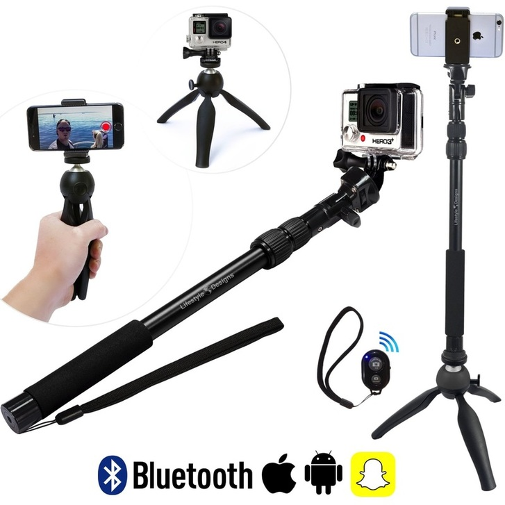 hd gopro selfie stick with tripod snapchat remote trend setter. Black Bedroom Furniture Sets. Home Design Ideas